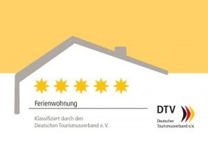 Schild und Erkennungszeichen für DTV-geprüfte Sterne-Unterkünfte