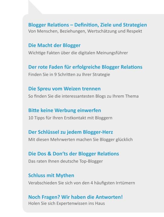 """Inhaltsverzeichnis zum Whitepaper """"Das 1 x 1 der Blogger-Relations"""""""