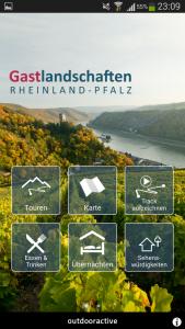 Tourenapp Rheinland-Pfalz Hauptmenü