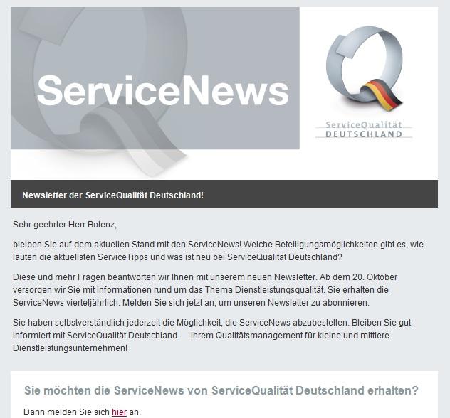 Screenshot ServiceNewsAnmeldung