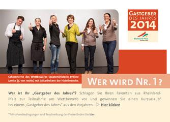 """Halbzeit der Bewerbungsphase des Wettbewerbs """"Gastgeber des Jahres 2014"""""""