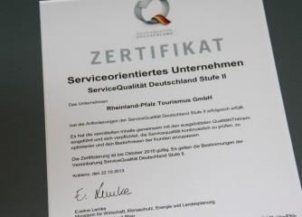 Auszeichnung als QualitätsBetrieb der Stufe II für die Rheinland-Pfalz Tourismus GmbH