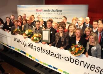 Oberwesel am Romantischen Rhein als Qualitätsstadt ausgezeichnet / Auszeichnung 47 serviceorientierter QualitätsBetriebe aus Rheinland-Pfalz