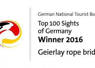 Hängeseilbrücke Geierlay unter Top 100-Sehenswürdigkeiten 2016