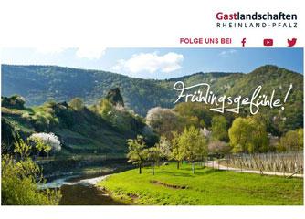 Newsletter im neuen Look: Urlaubsmeldungen Gastlandschaften Rheinland-Pfalz